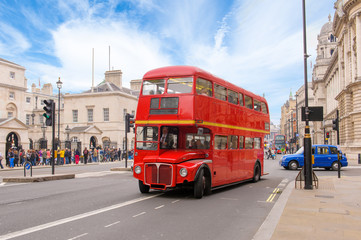 Poster London red bus red double decker vintage bus in a street