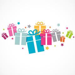 collection de cadeaux colorés