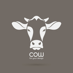 Vector image of a cow head design on brown background, Vector co