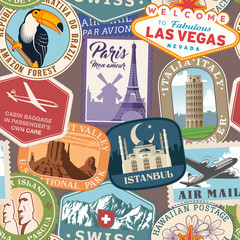 Vector travel Stamps colorful texture