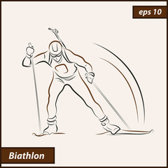 Vector illustration. Illustration shows the winter sports. Biathlon