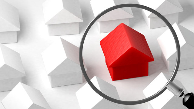 Gros plan sur une maison. Focus sur ses caractéristiques. Comparaison immobilière. Illustration conceptuelle. Rendu 3D