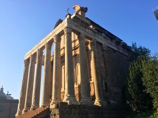 Roman Forum building remains with Doric columns