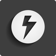 Lightning icon in circle and long shadow isolated on black background. Vector flash symbol. Flat UI button. EPS 10