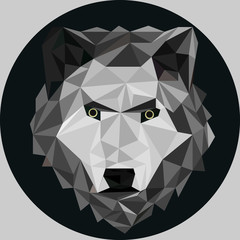 Wolf portrait. Low poly design. Vector polygonal illustration.