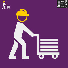 worker-pushing-a-cart icon