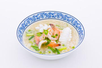 Boiled rice with prawn and squid