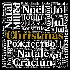 Christmas in different languages word cloud