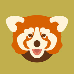 panda red head vector illustration style Flat