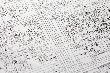 Obraz Electronics engineering drawing or circuit schematic - fototapety do salonu