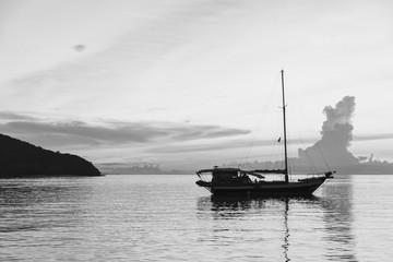 Yacht with sunset scene in koh phangan, Surat Thani, Thailand :