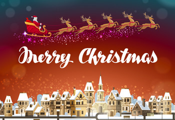 Merry Christmas. Santa Claus in sleigh flying over town