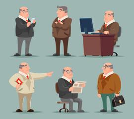 Businessman Big Boss Adult Old Man Character Cartoon Design Set Vector Illustration