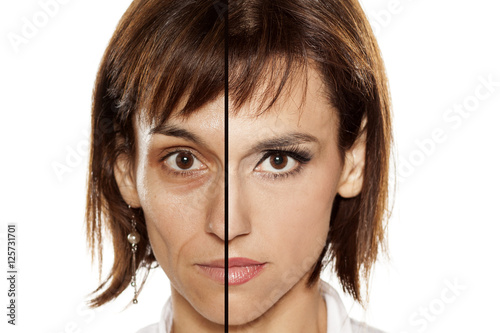 U0026quot;Comparition Portrait Of Middle-aged Woman Without And Witht Makeupu0026quot; Stockfotos Und Lizenzfreie ...