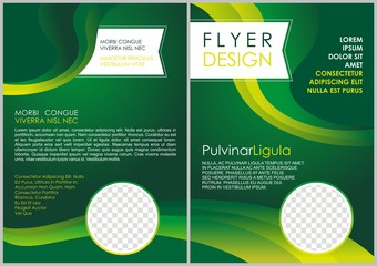 Corporate brochure flyer design layout template in A4 size with green and yellow color