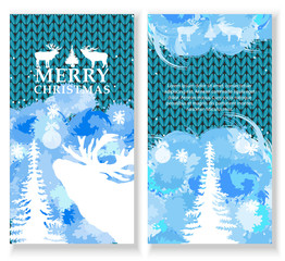 Merry Christmas Card. Set of brochure, poster template