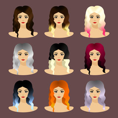 Set of hair coloring species, care and style.
