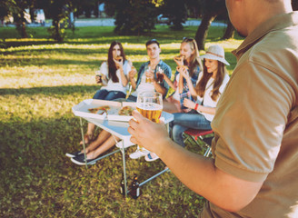 Cheerful friends on picnic