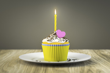 delicious cupcake with a burning candle