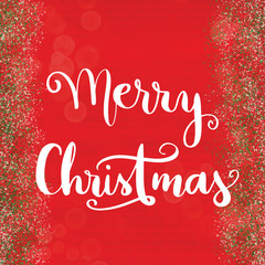 Merry Christmas greeting on festive red and green background