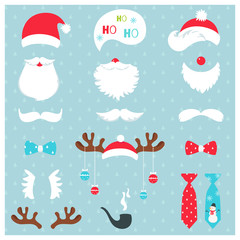 Christmas Santa Claus and Reindeer Photo Booth Props Vector Set