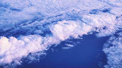 Scene of cloudy sky from aircraft aerial view