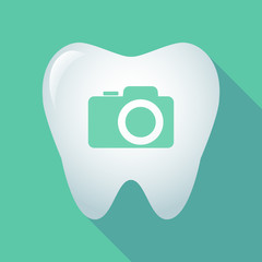 Long shadow tooth icon with a photo camera