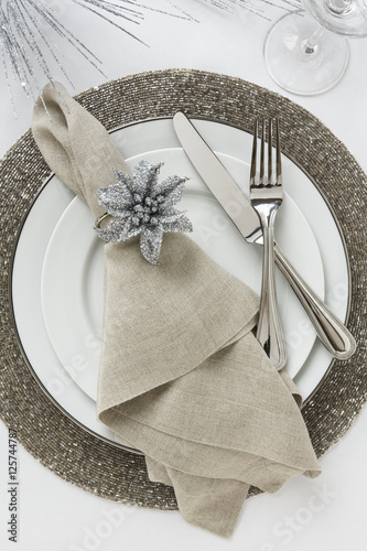 Festive Fancy Formal Fine Dining Christmas Or New Year S Eve Holiday Dinner Party Table Setting Place
