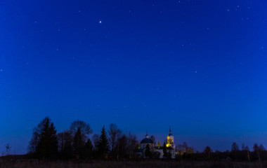 village night scenery, Novgorod oblast, Russia