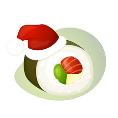 Seafood sushi, roll, christmas hat, vector illustration isolated on a white