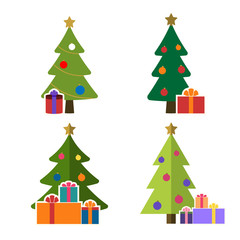 Christmas tree cartoon icons set. Green flat silhouette decoration trees signs isolated on white background. Symbol of holiday, winter, gifts, Christmas celebration, New Year Vector illustration