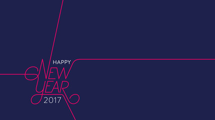 Happy New Year 2017 Outline Blue