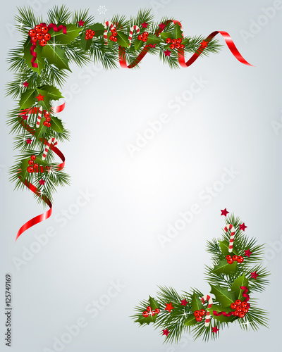 Quot christmas garland border stock image and royalty free
