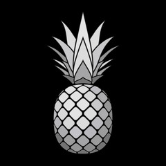 Pineapple silver icon. Tropical fruit isolated on black background. Symbol of food, sweet, exotic and summer, vitamin, healthy. Nature logo. 3D concept. Design element Vector illustration