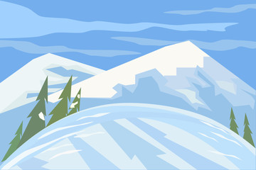 Green landscape. Mountain winter scene concept.  Outdoor background with snow hill trees cloudy blue sky. Daylight valley scenic view. Flat design for banner. Cartoon style. Vector Illustration