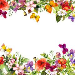 Spring, summer garden: flowers, grass, herbs, butterflies. Floral pattern. Watercolor