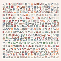 400 Flat Icons - Business, Shopping, School Supplies, Medical, Gambling, Multimedia, Computer, Network, Home Appliance, Travel, Winter, Weather, Ecology, Car Parts, Tools, Industry, Baby, Buildings