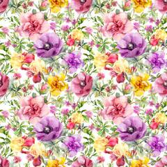 Flowers in meadow. Seamless floral pattern. Watercolor