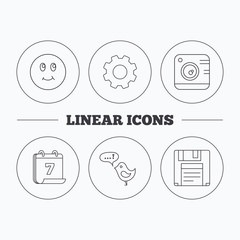 Photo camera, floppy disk and message icons. Smiling face linear sign. Flat cogwheel and calendar symbols. Linear icons in circle buttons. Vector