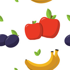banana, apples, plums, leaves, pattern in flat style on a white
