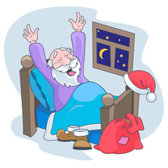 Santa Claus wakes up and stretches in bed