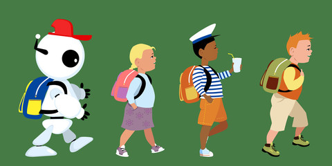 Cute robot going to school together with little kids, EPS 8 vector illustration