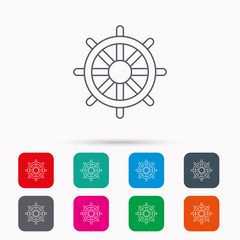 Ship steering wheel icon. Captain rudder sign. Sailing symbol. Linear icons in squares on white background. Flat web symbols. Vector