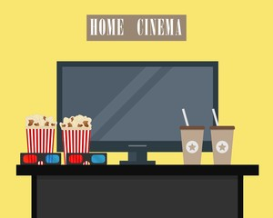 Home cinema. There is home cinema, 3D glasses, popcorn and coffee on a yellow background in the picture. Watch movies online concept.