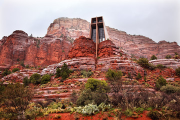 Chapel of Holy Cross Red Rock Canyon Rain Clouds Sedona Arizona