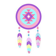color dreamcatcher pastel pink blue purple etnic style icon vect