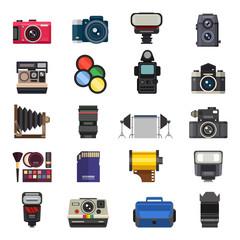 Photo studio icons vector set.