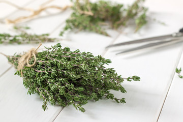 Thyme bunch and scissors on wooden table.