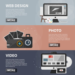 Set of vector flat horizontal banners of web design, photo and creating video for websites and apps. Business concept of creative process, production and editing.