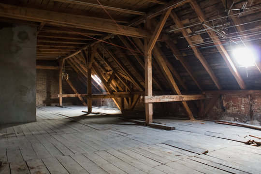 attic , old loft /  roof before construction